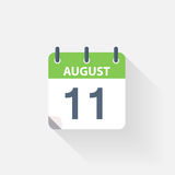 11 august calendar icon. On grey background royalty free illustration