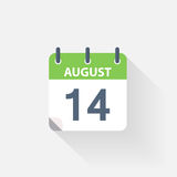 14 august calendar icon. On grey background royalty free illustration