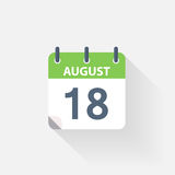 18 august calendar icon. On grey background vector illustration