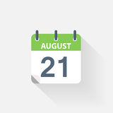 21 august calendar icon. On grey background royalty free illustration