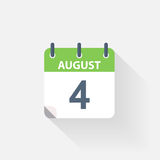 4 august calendar icon. On grey background vector illustration