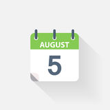 5 august calendar icon. On grey background royalty free illustration