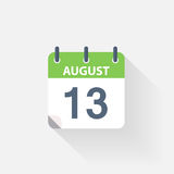 13 august calendar icon. On grey background stock illustration