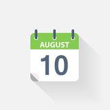 10 august calendar icon. On grey background vector illustration