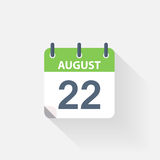 22 august calendar icon. On grey background vector illustration