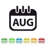 August Calendar Icon - Kleurrijk Vectorsymbool Royalty-vrije Stock Afbeelding