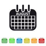 August Calendar Icon - simbolo variopinto di vettore Fotografia Stock