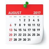 August 2017 - Calendar. Isolated on White Background. 3D Illustration Royalty Free Stock Images