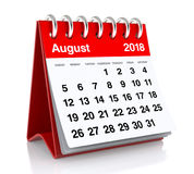 August 2018 Calendar. Isolated on White Background. 3D Illustration Stock Photography