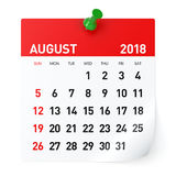 August 2018 - Calendar stock photography