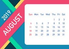August 2019 Calendar Leaf. Calendar 2019 in flat style. A5 size. Vector illustration. August 2019 Calendar Leaf. Calendar 2019 in flat style. A5 size. Vector royalty free illustration