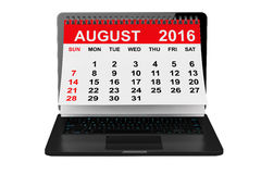 August 2016 calendar over laptop screen. 3d rendering. 2016 year calendar. August calendar over laptop screen on a white background. 3d rendering royalty free illustration