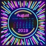2019. August Calendar page in neon effect style poster for concept typography design, flat color. Week starts on Sunday Happy New. Year. Illustration vector illustration