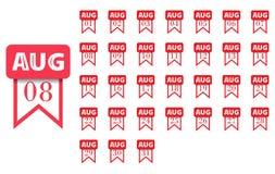 August Calendar-pictogram voor elke dag van maand Vlakke stijl Vector illustratie Stock Foto