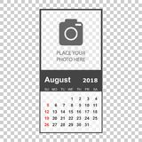 August 2018 calendar. Calendar planner design template with plac. E for photo. Week starts on sunday. Business vector illustration Stock Images