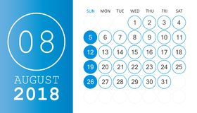 August 2018 calendar. Calendar planner design template. Week sta. Rts on Sunday. Business vector illustration Stock Photos