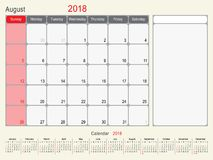 August 2018 Calendar Planner Design. 2018 Calendar Planner Design, August 2018 year  calendar design Stock Photography