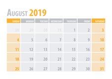 August Calendar Planner 2019 i enkel stil för ren minsta tabell också vektor för coreldrawillustration royaltyfri illustrationer