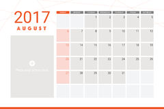 August 2017 calendar Royalty Free Stock Photography
