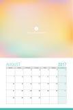 August 2017 calendar Stock Photography