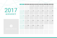 August 2017 calendar. With space for your pictures Stock Photo