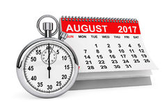 August 2017 calendar with stopwatch. 3d rendering. 2017 year calendar. August calendar with stopwatch on a white background. 3d rendering Stock Photography