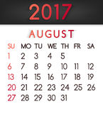 August 2017 calendar vector in a flat style in red tones. Week starts on Sunday Royalty Free Stock Image