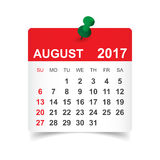 August 2017 calendar. August 2017. Calendar vector illustration Royalty Free Stock Image