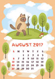August 2017 calendar. Wall calendar for  August,  2017 with an amusing cat. Fun children`s illustration in cartoon style. Colorful background. Vertical Royalty Free Stock Photography