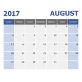2017 August calendar week starts on Sunday Stock Images