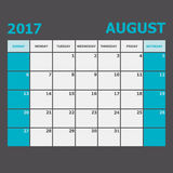 August 2017 calendar week starts on Sunday Royalty Free Stock Photo
