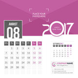 August 2017. Calendar 2017. August 2017. Calendar for 2017 Year. 2 Months on Page. Vector Design. Template with Place for Photo and Company Logo Royalty Free Stock Photo