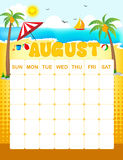 August calender. Colorful wall calender page template with seasonal graphics for each month. August summer themed calender page Stock Photos