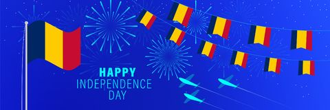 August 11 Chad Independence Day greeting card.  Celebration background with fireworks, flags, flagpole and text. Vector illustration royalty free illustration