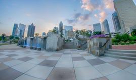 29. August 2014 Charlotte, NC - Ansicht von Charlotte-Skylinen an Ni Lizenzfreie Stockfotos