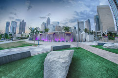 August 29, 2014, Charlotte, NC - view of Charlotte skyline at ni Royalty Free Stock Photo