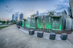 August 29, 2014, Charlotte, NC - view of Charlotte skyline at ni Stock Photos