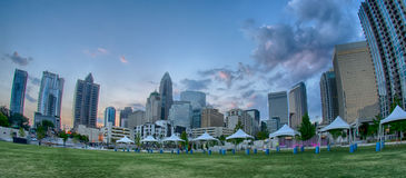 August 29, 2014, Charlotte, NC - view of Charlotte skyline at ni Stock Image