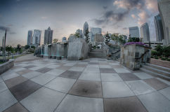 August 29, 2014, Charlotte, NC - view of Charlotte skyline at ni Stock Photo