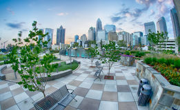 August 29, 2014, Charlotte, NC - view of Charlotte skyline at ni Royalty Free Stock Photos
