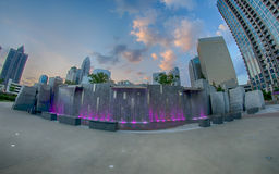 August 29, 2014, Charlotte, NC - view of Charlotte skyline at ni Stock Photography