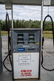 AUGUST 12 2018 - CHITNIA ALASKA: Retro style gas pumps at an Alaska gas station have no pay at the pump stock images