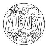 August Coloring Pages para los niños ilustración del vector