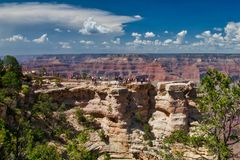 Crowds at Grand Canyon. August crowds. Grand Canyon National Park in Northern Arizona for vacation, hiking, rafting, and photography stock photography