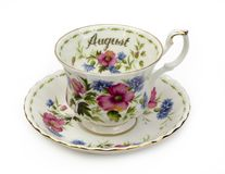 August Cup and Saucer. Cup and Saucer - Month of August royalty free stock photos