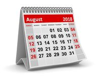 August 2018 - Calendar. August 2018 , This is a 3d rendered computer generated image. Isolated on white Royalty Free Stock Photos