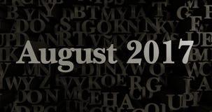 August 2017 - 3D rendered metallic typeset headline illustration Royalty Free Stock Photos