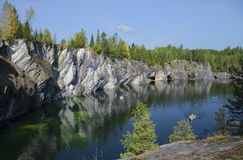 August day in marble canyon. Karelia Royalty Free Stock Photography