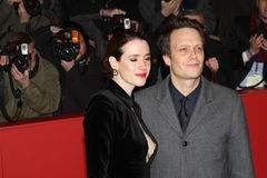 August Diehl and Julia Malik. BERLIN, GERMANY - FEBRUARY 13: August Diehl and Julia Malik attend the 'Night Train to Lisbon' Premiere during the 63rd Berlinale Royalty Free Stock Image