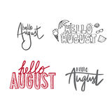 August. Different variants of handwriting hello August royalty free illustration